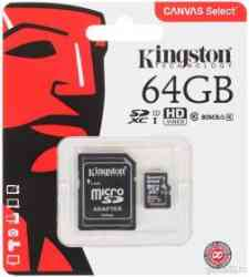 KINGSTON MicroSDXC 64Gb Class10 UHS-I U1 80Mb/s + Адаптер, RTL