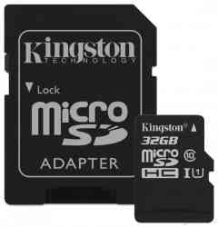 KINGSTON MicroSDHC 32Gb CANVAS Select, SDCS2/32GB, Class10 UHS-I до 100Mb/s + Адаптер, RTL
